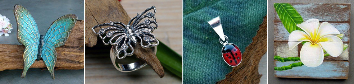 Shop voor leuke Vlinder Decoraties, Vlinder Sieraden, Lieveheersbeestjes en Bloemen