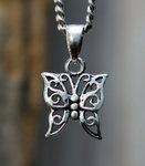 zilveren vlinder hanger