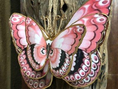 hangdecoratie vlinder metaal - per set 3 stuks