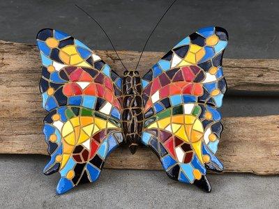 wanddeco 16 cm vlinder mozaiek