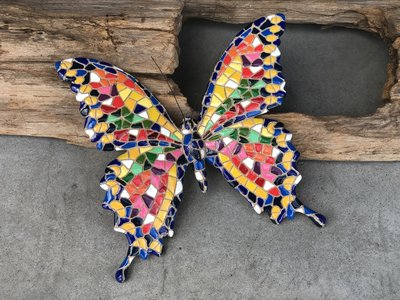 wanddeco 20 cm vlinder mozaiek