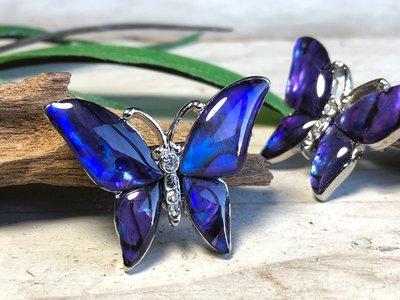 broche vlinder paua paars