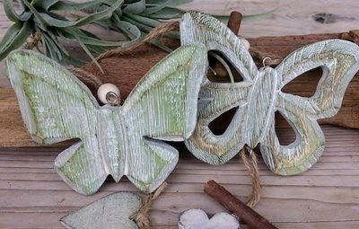 hangdecoratie vlinder hout set 2 stuks
