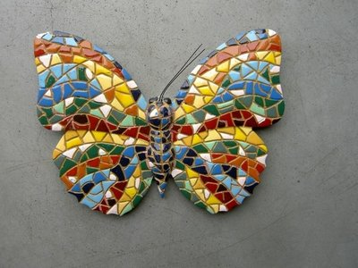 wanddeco 15 cm vlinder mozaiek 08105