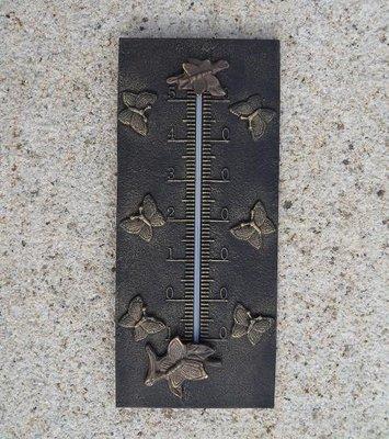 thermometer brons met vlindertjes