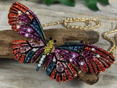 broche + ketting hanger vlinder bont