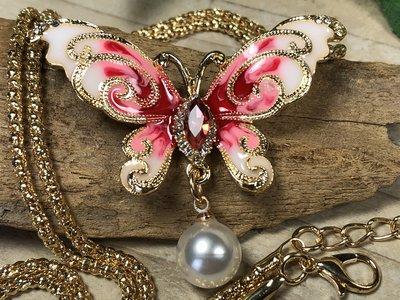 broche + ketting hanger vlinder roze-rood