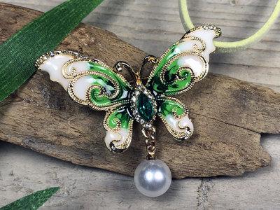 broche + hanger vlinder goud-groen