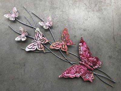 wanddeco vlinders 'pink' 73x25cm