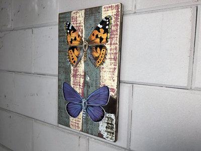 schilderij vlinders sloophout 25x40cm
