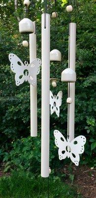 windgong met vlinders wit