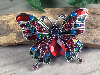 broche vlinder zilverkleur-rood-blauw