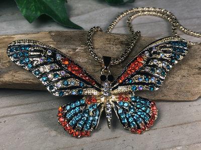 ketting vlinder hanger goudkleur-bont