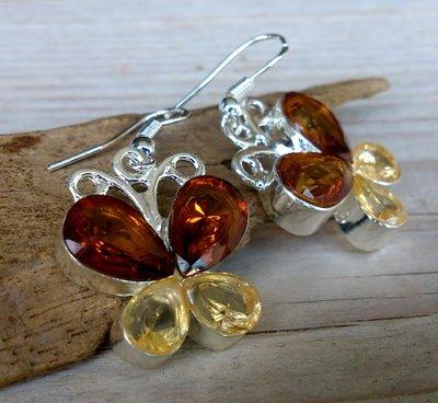 oorbellen vlinder glittersteen bruin S