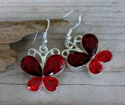oorbellen vlinder glittersteen rood S