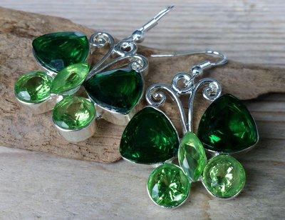 oorbellen vlinder glittersteen groen M
