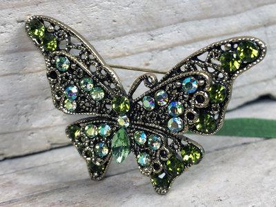 broche vlinder goud-groen