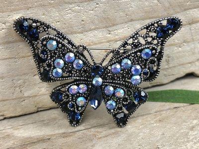 broche vlinder zilver-blauw