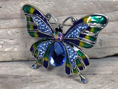 broche vlinder zilverkleur-blauw