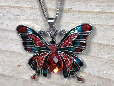 kettinghanger vlinder zilverkleur rood