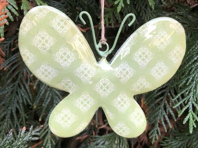 hangdecoratie vlinder metaal groen 12x9cm