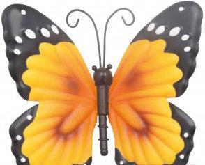 wanddecoratie vlinder metaal geel 15x12cm