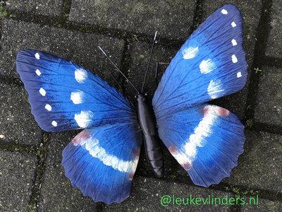 wanddecoratie 3D vlinder metaal 32x24cm
