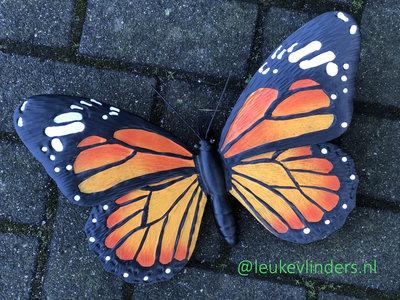 wanddecoratie 3D vlinder metaal 34x25cm