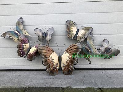 wanddecoratie vlinders metaal 105x52cm
