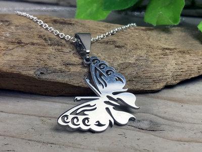 ketting hanger vlinder zilverkleur