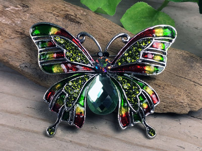 broche vlinder zilverkleur-groen