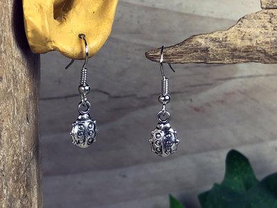 oorbellen lieveheersbeestjes zilverkleur