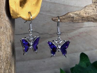 oorbellen vlindertjes paua paars