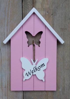 welkom bordje vogelhuisje roze