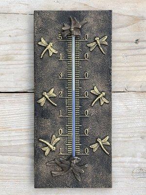 thermometer brons met libellen