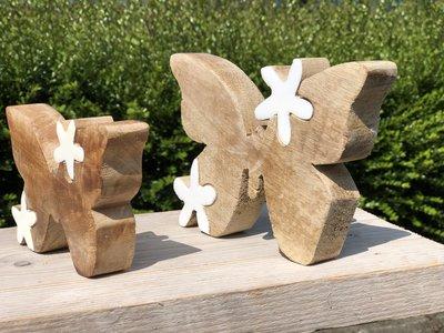houten vlinder decoratie set 2 stuks