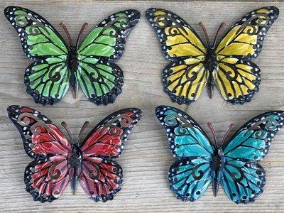 vier vlindertjes metaal wanddecoratie 11,5x8cm
