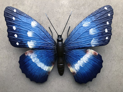 wanddecoratie 3D vlinder metaal 34x27cm
