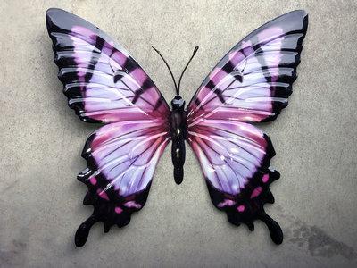 wanddecoratie vlinder metaal 35x32cm