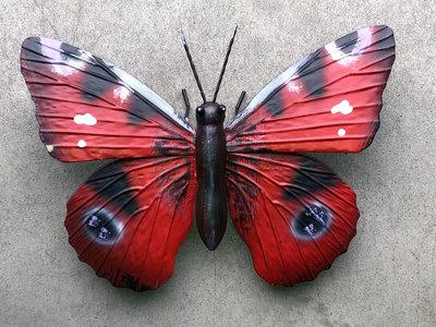wanddecoratie 3D vlinder metaal 26x18cm