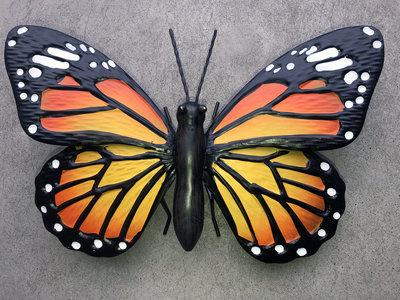 wanddecoratie 3D vlinder metaal 26x17cm