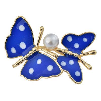 vlinder broche blauw