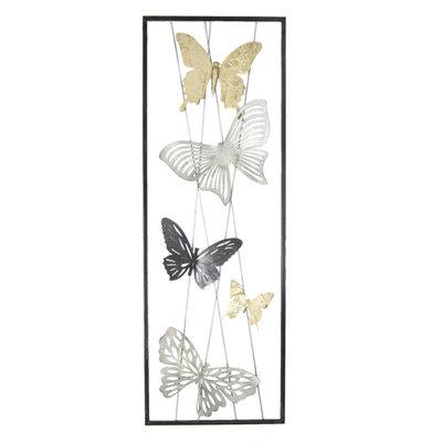 wanddecoratie vlinders metaal 90x31cm