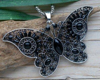 ketting hanger vlinder zwart