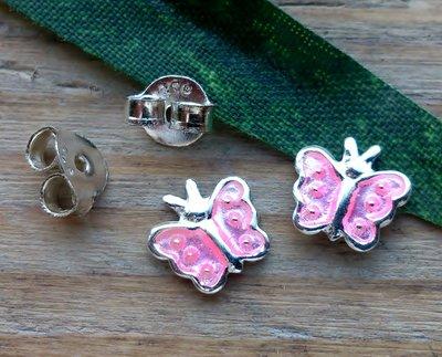 oorstekers vlinder zilver roze
