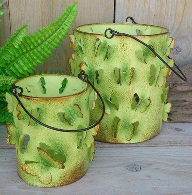 waxinelichthouder vlindertjes groen set 2 stuks