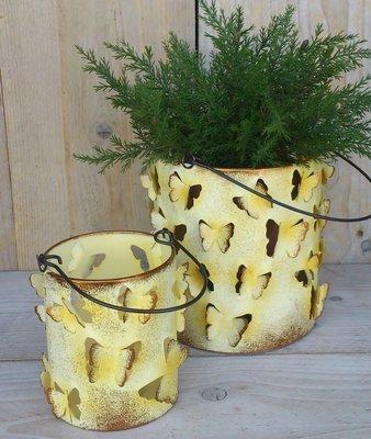 waxinelichthouder vlindertjes geel set 2 stuks