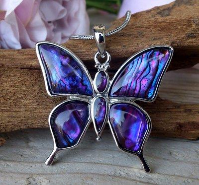 ketting hanger vlinder paua paars