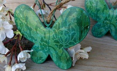 hangdecoratie vlinder metaal groen