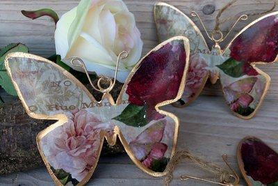 hangdecoratie vlinder metaal goud-roze-rood